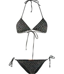 missoni mare sequin embroidered bikini set - black