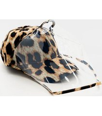 noelle leopard pvc face shield hat - leopard