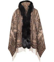 fox fur trim animal print shawl