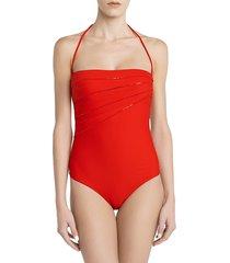 la perla women's conchiglia sequin one-piece swimsuit - red - size 34 c