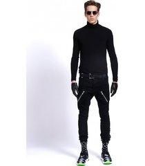 spodnie męskie forever united jeans zips czarne