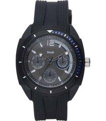 orologio toronto cinturino nero policarbonato, quadrante e ghiera nera e blu per uomo