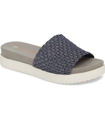 bernie mev. capri slide sandal, size 9us in navy shimmer fabric at nordstrom