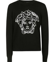 versace medusa head embroidered sweater