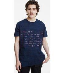 pink calligraphic text t-shirt - blue - xxl
