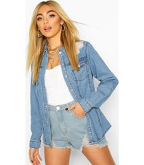 western distressed denim shirt, mid blue
