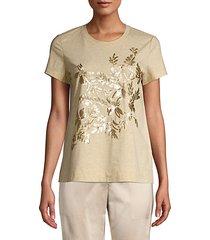 embellished melange jersey t-shirt