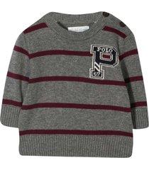ralph lauren gray striped sweater