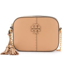 tory burch camera bag mcgraw shoulder bag in beige leather