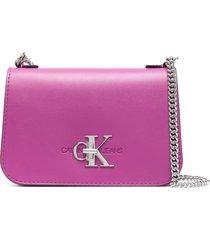 calvin klein jeans logo-letter shoulder bag - pink
