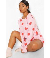plus pyjama set met franjes en hartjes, roze
