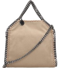 stella mccartney falabella tiny shoulder bag in beige polyester