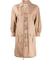 solid & striped lace-up parka coat - neutrals