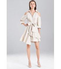 coated cotton cold shoulder dress, women's, white, 100% cotton, size 12, josie natori