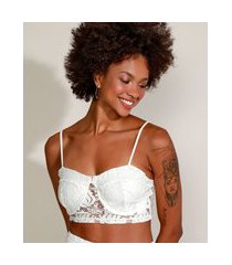 top cropped de renda feminino com aro alça fina decote princesa off white