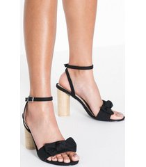 nly shoes canvas bow heel sandal high heel