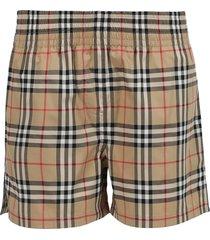side stripe vintage check stretch shorts, archive beige