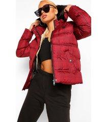 geruite gewatteerde jas met faux fur zoom, red