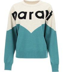 isabel marant étoile round neck sweatshirt with maxi logo
