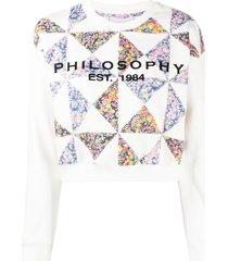 philosophy di lorenzo serafini floral print patchwork sweatshirt -
