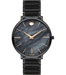 reloj movado 607211 negro acero inoxidable