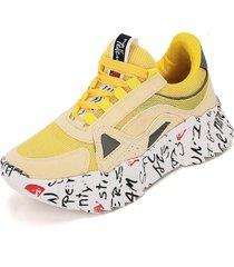 tenis moda dama sneakers  tellenzi 226 amarillo