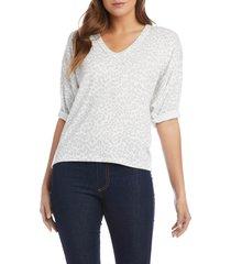 women's karen kane roll sleeve leopard print t-shirt, size x-large - grey