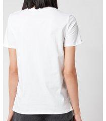 balmain women's 3 button printed logo t-shirt - blanc/rose - l