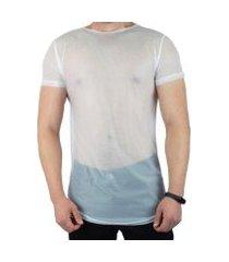 camiseta vcstilo longline tela transparente masculina