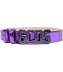 gcds logo-plaque metallic belt - purple