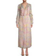 redvalentino women's star-print silk maxi dress - pink multi - size 40 (8)