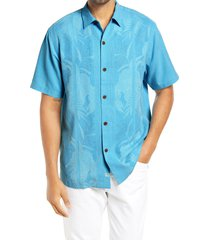 men's tommy bahama tahitian border classic fit silk shirt, size small - blue