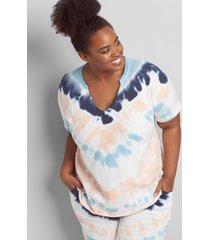 lane bryant women's livi short-sleeve tie dye sweatshirt 30/32 multi tye dye