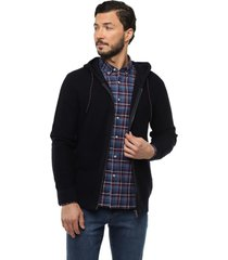 sweater capucha full zipper azul marino arrow