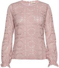 crtiley lace blouse blus långärmad rosa cream