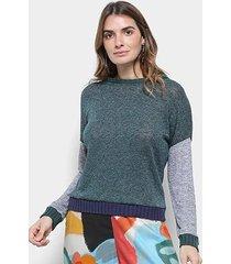 blusa tricot cantão lurex bicolor feminina