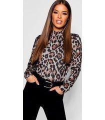 petite leopard print turtle neck top, camel
