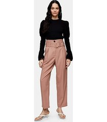 rose pink high waist belted peg trousers - rose