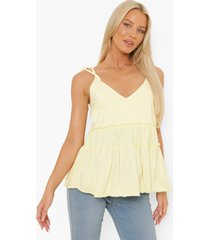 zwangerschap gesmokt hemdje met laagjes en ceintuur, yellow