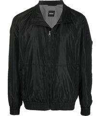 boss spread-collar bomber jacket - black