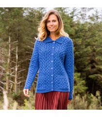 blue shandon aran cardigan - large