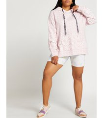 river island womens plus pink ri active floral hoodie