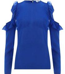 blusa hombros descubiertos azul color azul oscuro,talla 6