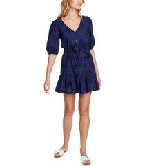 1.state eyelet-embroidered ruffled-hem mini dress