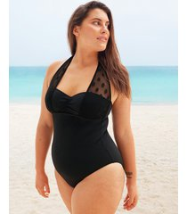 icon spot mesh underwire shaping halter black one-piece swimsuit d-g