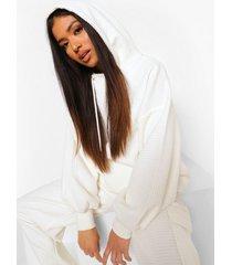 petite wafel gebreide oversized hoodie, off white