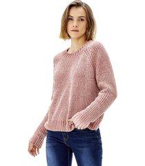 sweater crop chenille mujer palo rosa corona