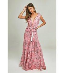 robe sophie estampa bandana pink multicolorido