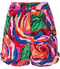 manish arora rose pattern sequinned shorts - multicolour