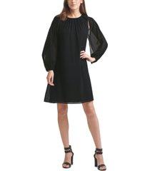 dkny pleated-cape shift dress